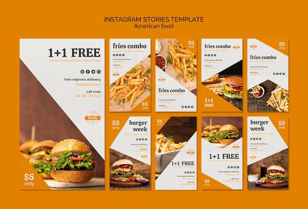 Modello di storie di instagram settimana succosa di hamburger