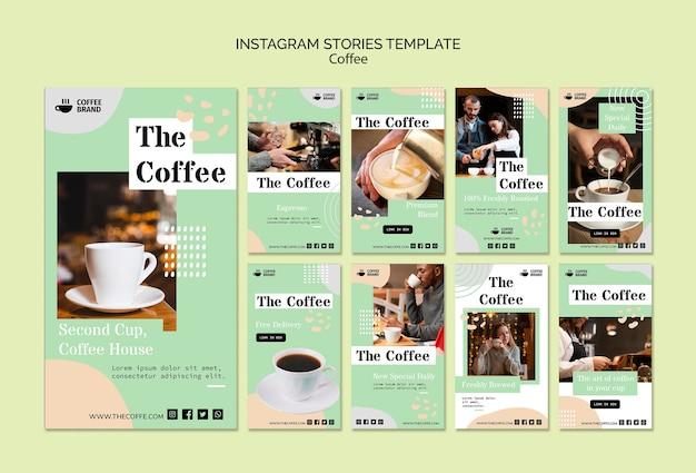 Modello di storie di istagram di caffè