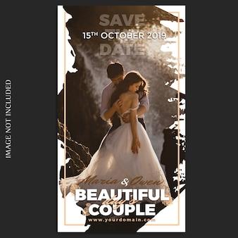 Modello di storie di nozze di instagram