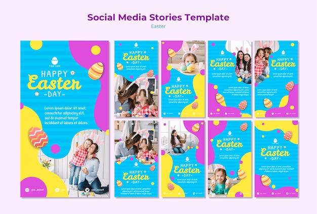 Modello di storie di social media di pasqua