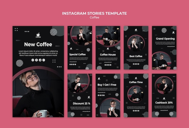Modello di storie instagram caffè gustoso