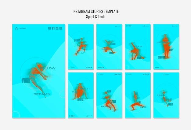 Modello di storie instagram concetto sport & tecnologia