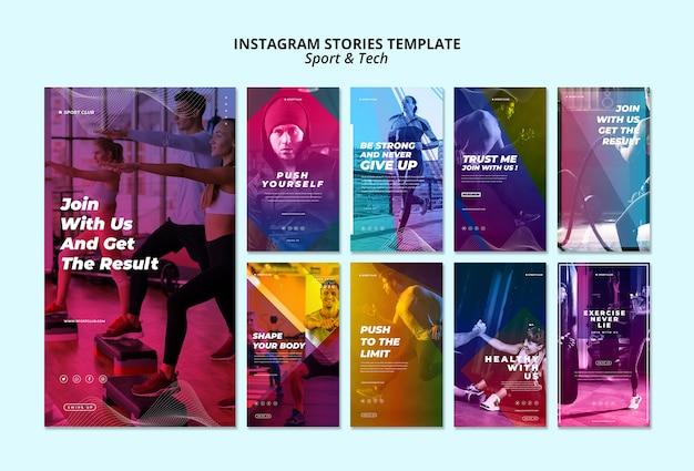Modello di storie instagram di sport e tecnologia