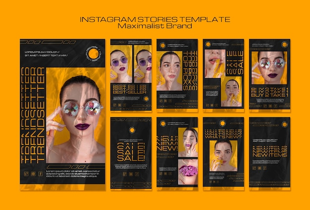 Modello di storie instagram di trendsetter del marchio maximalist