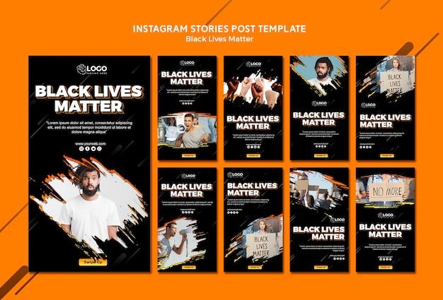 Modello di storie instagram di vite nere