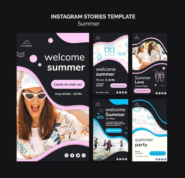 Modello di storie instagram divertimento estivo
