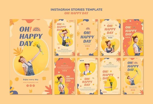 Modello di storie instagram felice giorno