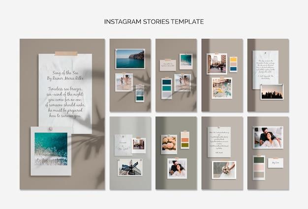 Modello di storie instagram moodboard colorati