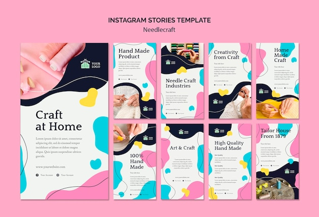 Modello di storie instagram needlecraft