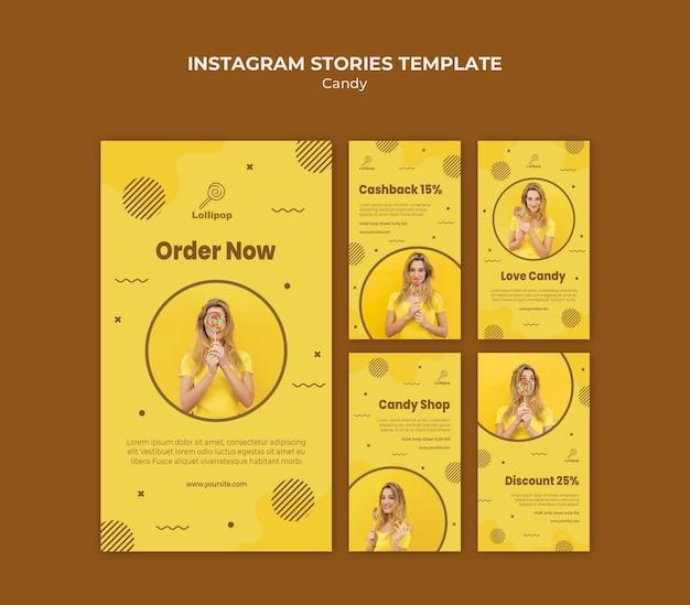 Modello di storie instagram negozio di caramelle