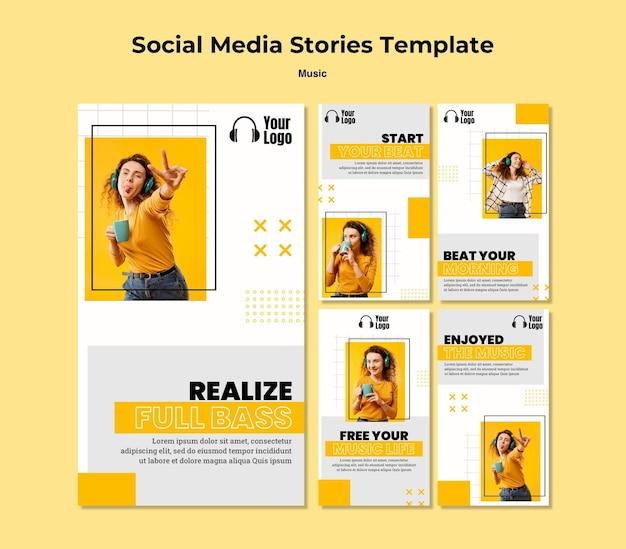 Modello di storie instagram piattaforma musicale