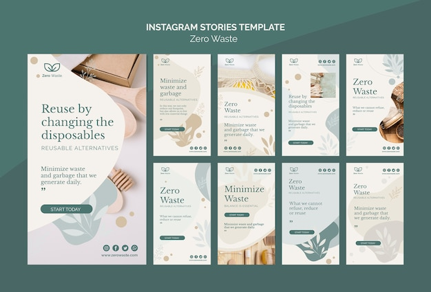 Modello di storie instagram zero rifiuti prodotti