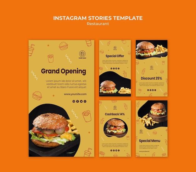Modello di storie sui social media del ristorante burger