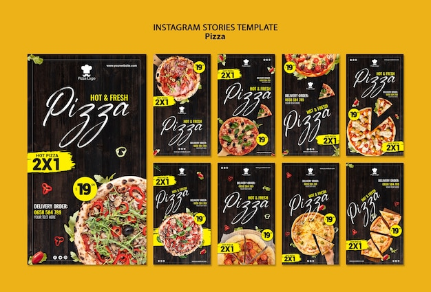 Modello di storie sui social media del ristorante pizzeria