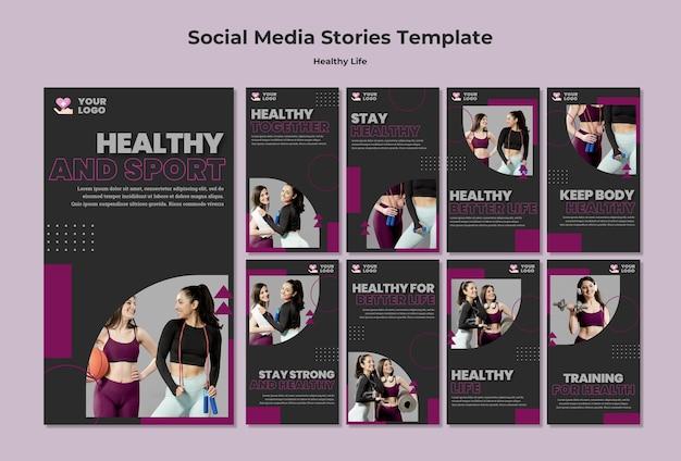 Modello di storie sui social media di stile di vita sano