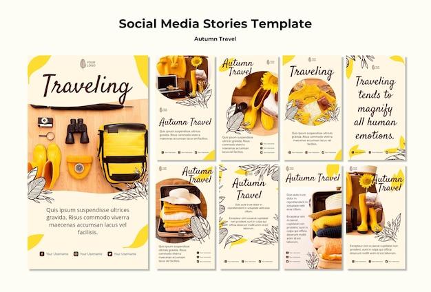 Modello di storie sui social media in viaggio autunnale