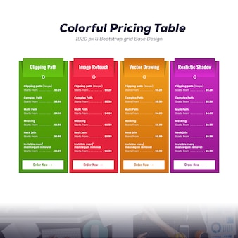 Modello di tabella dei prezzi colorato