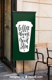 Modello di tabellone per le affissioni con il concetto di caffè