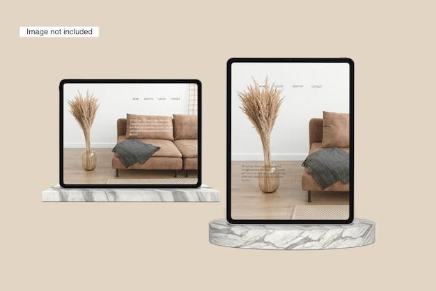 Modello di tablet angolo di vista frontale