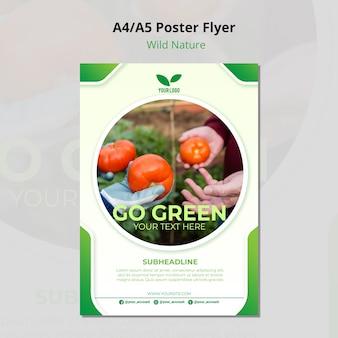 Modello di volantino ambientale di pomodori biologici