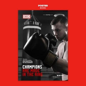 Modello di volantino annuncio di boxe