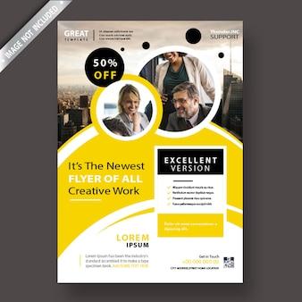 Modello di volantino aziendale giallo