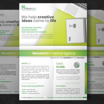 Modello di volantino aziendale verde