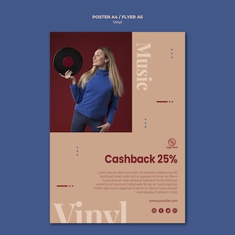 Modello di volantino cashback vinile