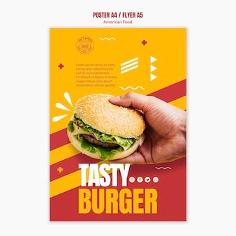 Modello di volantino cibo americano hamburger