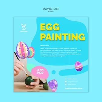 Modello di volantino colorato uovo di pasqua