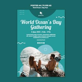 Modello di volantino con giornata mondiale degli oceani