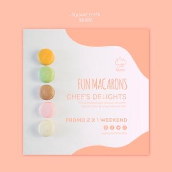Modello di volantino con macarons design