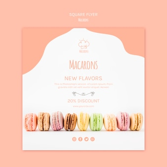 Modello di volantino con macarons