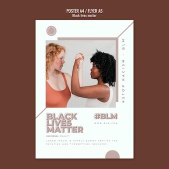 Modello di volantino con materia di vite nere