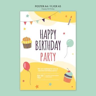 Modello di volantino concetto di buon compleanno
