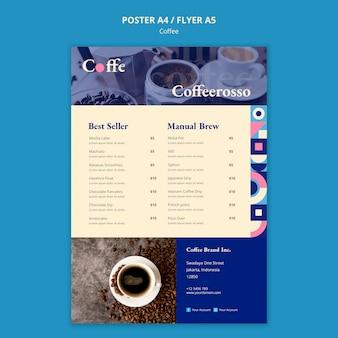 Modello di volantino concetto di caffè