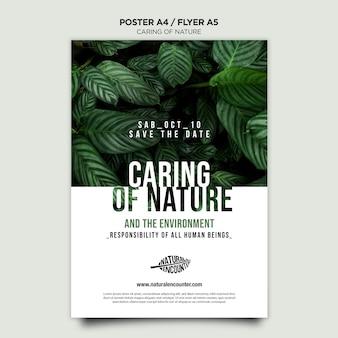 Modello di volantino concetto di natura