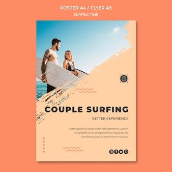 Modello di volantino concetto di surf