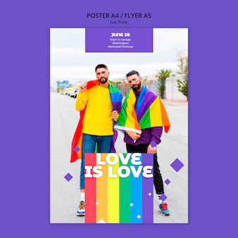 Modello di volantino concetto gay prinde