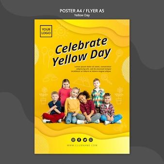 Modello di volantino concetto giallo giorno