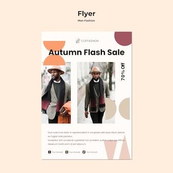 Modello di volantino concetto moda uomo