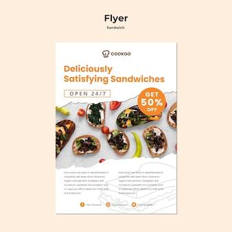 Modello di volantino concetto sandwich