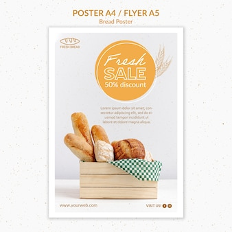 Modello di volantino del concetto di pane