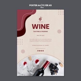Modello di volantino del concetto di vino