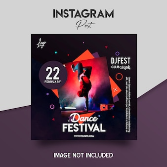 Modello di volantino del festival di musica da ballo