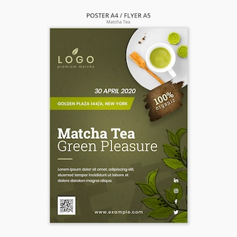 Modello di volantino del tè a5 matcha