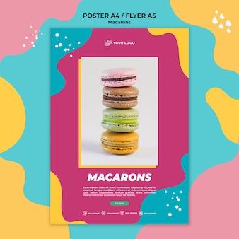 Modello di volantino deliziosi macarons dolci