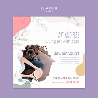 Modello di volantino di arte e animali domestici