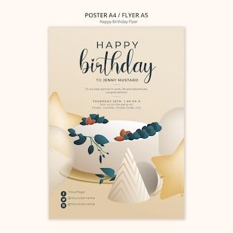 Modello di volantino di buon compleanno