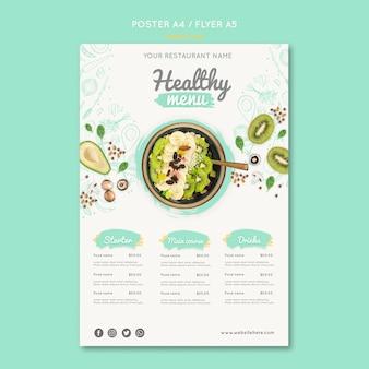 Modello di volantino di cibo sano con foto